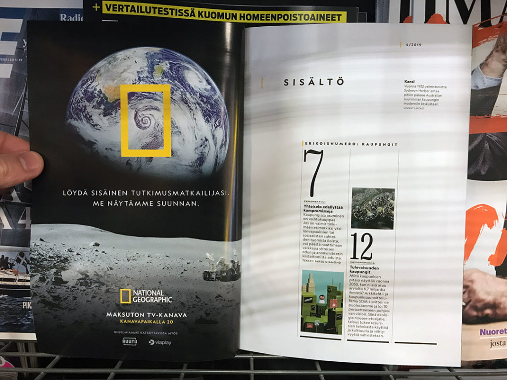 National Geographic magazine ad inside cover